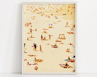 Sun Bathers Beach Art Print Beach Print Beach Painting Beach Wall Art Golden Yellow Art Light Yellow Print Be Beach Art Prints Shipping Art Prints Prints