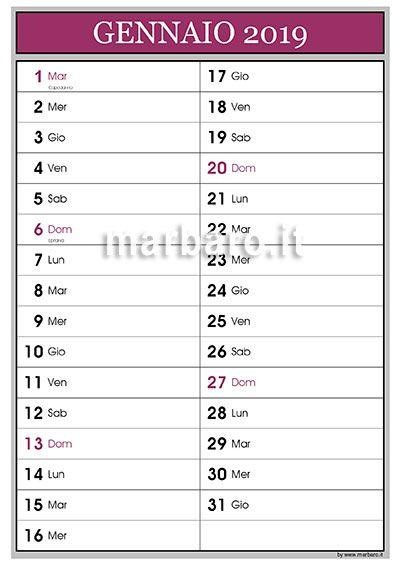 Calendario 12 Mesi.Calendario 2019 12 Mesi Pdf Calendari Calendario Stampe