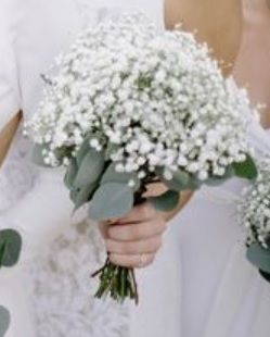 Seeded Eucalyptus And Baby S Breath Bridesmaids Bouquets Baby S Breath Wedding Flowers Bridesmaid Bouquet Wedding Bouquets