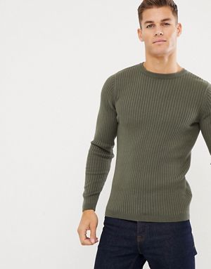257104363f8 New Look muscle fit sweater in khaki | Chapati in 2019 | Men sweater ...