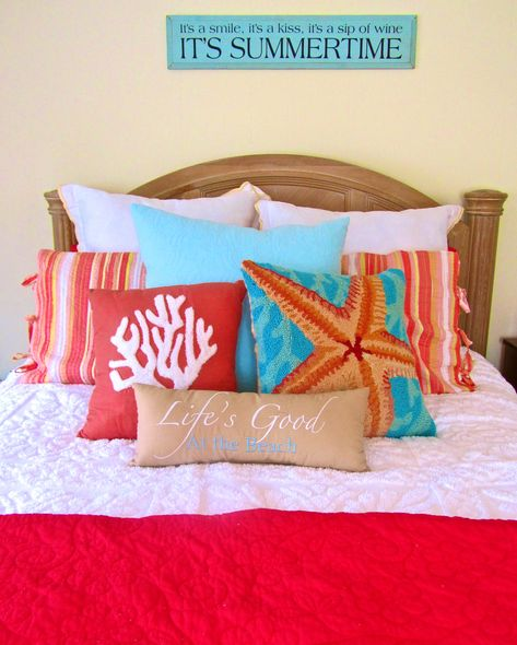 ~ great colors ~ Starfish Pillow can be found: http://caronsbeachhouse.com/18-x-18-starfish-wool-hooked-pillow-teal-background.html