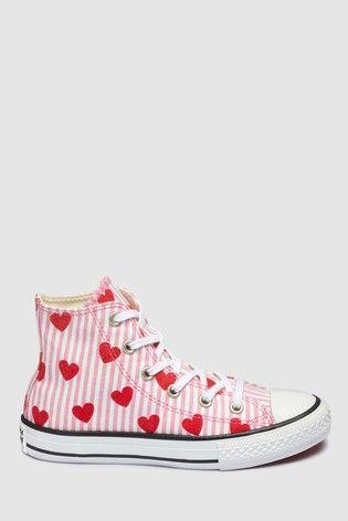 Converse Pink Heart Chuck High Tops