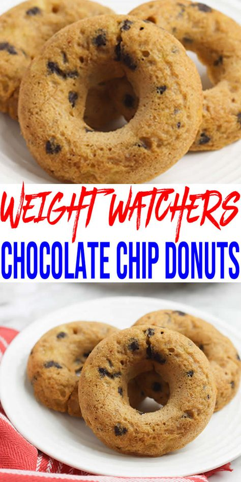 Weight Watchers Chocolate Chip Donuts – BEST WW Recipe – Gluten Free Skinny Donuts – Breakfast – Treat – Dessert – Snack with Smart Points Weight Watcher Desserts, Weight Watchers Snacks, Weigh Watchers, Weight Watchers Breakfast, Going Vegetarian, Vegetarian Breakfast, Vegetarian Dinners, Diet Breakfast, Vegetarian Cooking