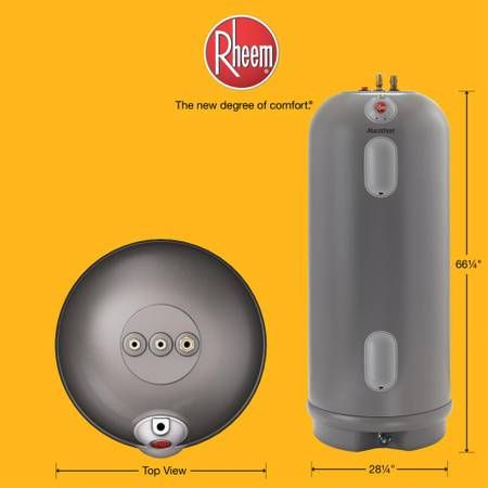 Rheem Commercial Marathon 85 Gal Lifetime 4500 4500 Watt Non Metallic Electric Tank Water Heater First Hour Rating Of 91 Water Heater Electricity Relief Valve