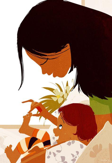 Mum and child / Mamma e bimbo - Illust. by #PascalCampion , #pascalcampionart