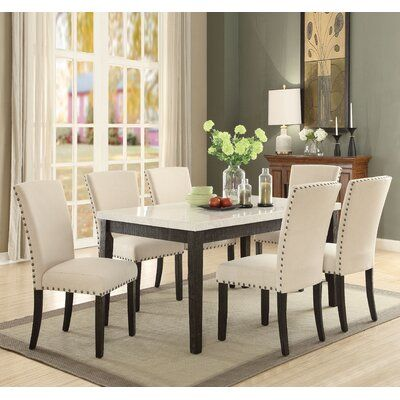 Red Barrel Studio Brownsburg Upholstered Parsons Chair In Beige Square Dining Tables Marble Top Dining Table Dining Table Setting