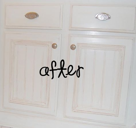 how to refinish builder grade cabinets with moldings, bead board and paint -- WOW
