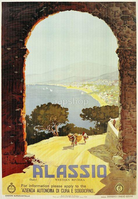 Vintage 1920s Alassio Italian travel advertising