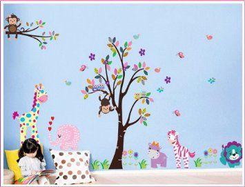 Hibou doux et Monkey Tree Stickers muraux / arbre de hibou mur de girafe faune Zebra Elephant Lion dans le Wall Sticker Jungle pour la chambre des enfants salon de chambre à coucher: Amazon.fr: Cuisine & Maison