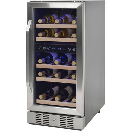 Newair Compact 29 Bottle Wine Refrigerator Stainless Steel Walmart Com With Images Built In Wine Cooler Wine Refrigerator