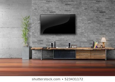 Living Room Led Living Room Led Tv On Brick Wall With Wooden Table And Plant In Pot Empty Interior Wall Panel Design Curved Tv Wall Built In Tv Cabinet