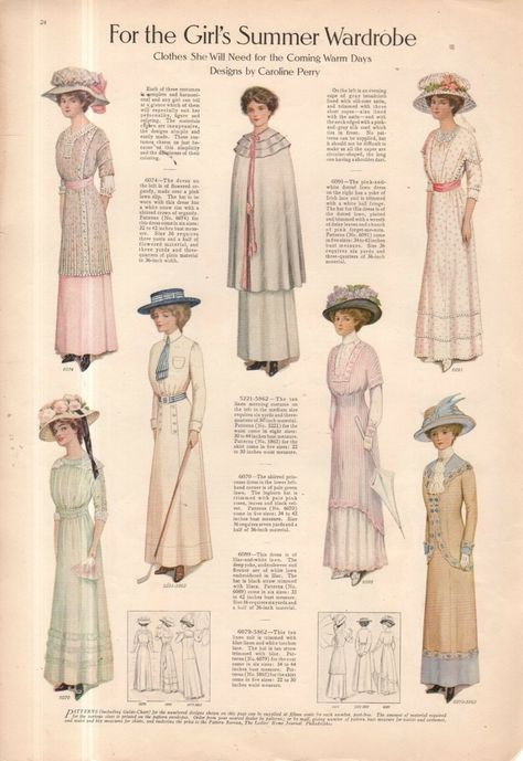 Linen Suits in prettiest colors on the reverse. Fashion print from Original Fashion print only as shown. Edwardian Era Fashion, Edwardian Clothing, 1800s Fashion, Edwardian Dress, Teen Fashion, Retro Fashion, Vintage Fashion, Vintage Beauty, Fashion Goth