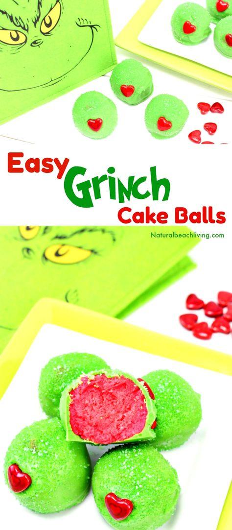 The Best Grinch Snacks, Easy Grinch Cake Balls, Easy Christmas Cake Balls, Grinch Christmas Treats, Grinch snacks for Kids, Grinch Cake, Christmas snacks for kids, Christmas Dessert, #Christmassnacks #grinch #grinchsnacks #cakeballs #grinchcakeballs