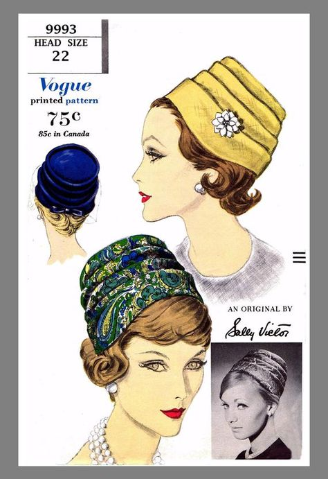 DARTED CLOCHE Hat Cap Cancer Chemo ALOPECIA Fabric Sewing PATTERN # 5789 VOGUE