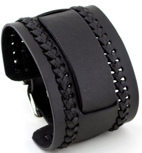 Nemesis NW-K Black Wide Leather Cuff Wrist Watch Band: Watches: Amazon.com