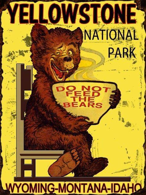 *YELLOWSTONE  NATIONAL PARK* METAL SIGN 8X12 RUSTIC LODGE LOG CABIN DECOR