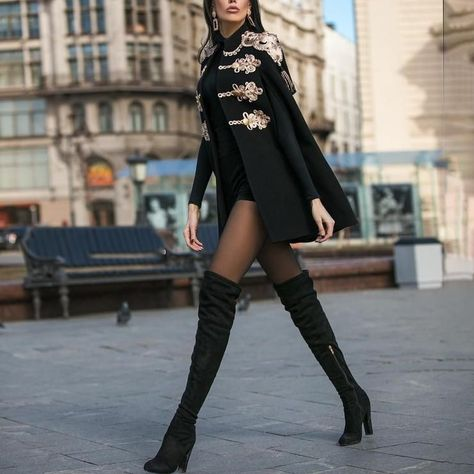 Black Jacket Knee High Boots Outfit