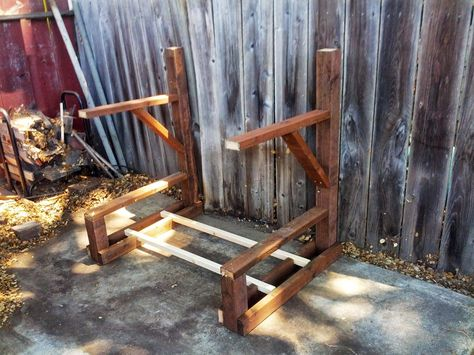 Here's instructions for a do-it-yourself kayak rack for either indoor or outdoor storage.