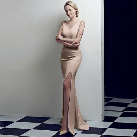 ノースリーブ サイドスリット イブニングドレス パーテイードレス ロングワンピース 大きいサイズ 二次会 お呼ばれ 宴会 女子会 ワインレッド XS S M L 2L 3L 4L | DressZone