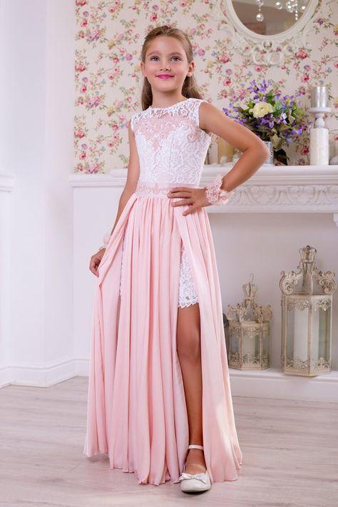 Blush Pink Girls Dress - Blush Flower Girl Dress, Blush Flower Girl Dress For Toddlers, Wedding Party Blush Lace Chiffon Flower Girl Dress