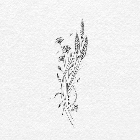 Wild Flower Ink On Drawing Paper Wildflowers Floral Grasshopper Tatts Tattoo Tattooart Tattooartist Tattoo Tattoos Wheat Tattoo Wildflower Tattoo