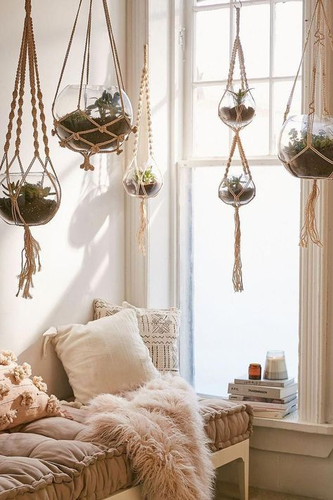 beachy boho bedroom Set of 5 macrame hanging glass terrariums from Urban Outfitters. What a great way to decorate a room for a beachy boho look! Room Makeover, Room Ideas Bedroom, Boho Room, Boho Living Room, Home Decor, Room Inspiration, Apartment Decor, Room Decor Bedroom, Chic Bedroom