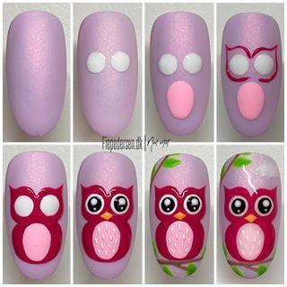 Owl Nail Art, Owl Nails, Minion Nails, Funky Nail Art, Animal Nail Art, Funky Nails, Cute Nail Art, Nail Art Diy, Animal Nail Designs