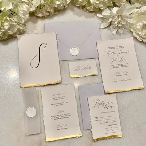 Savannah Gold Dipped Wedding Invitation Suite SAMPLE | Etsy