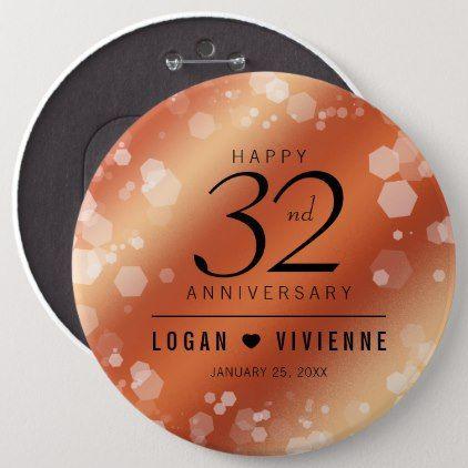 Elegant 32nd Bronze Wedding Anniversary Button Bronze Wedding Anniversary Copper Wedding Copper Wedding Anniversary
