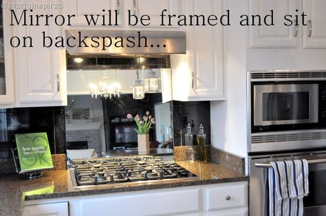 Interesting Idea Use A Mirror As A Backslash Behind Stove Top