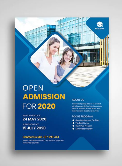 Admission flyer template PSD