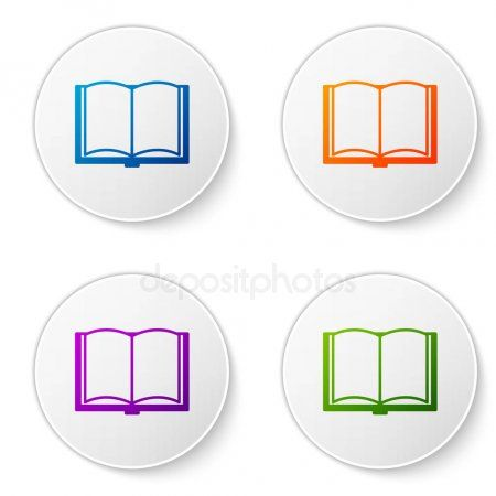 Color Open Book Icon Isolated On White Background Set Icons In Circle Buttons Spon Icon Isolated Book Col Book Icons Vector Illustration Open Book