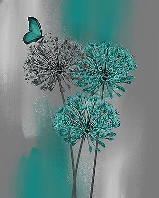 Teal Gray Modern Floral Butterfly Decor, Teal Bedroom Bathroom Wall Art Picture
