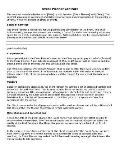 Wedding Vendor Agreement Template Event Planning Contract Event