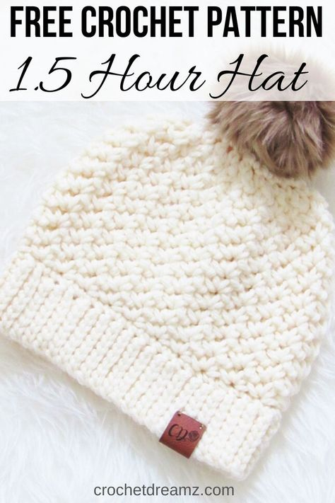 Hour Chunky Crochet Hat Pattern, Free Hour Chunky Crochet Hat Pattern, Free,Crochet Hats Do you love simple and easy hat crochet patterns? Then this free chunky beanie crochet tutorial is a must-try. Chunky Crochet Hat, Crochet Adult Hat, Bonnet Crochet, Crochet Beanie Pattern, Crochet Motifs, Girl Crochet Hat, Kids Crochet Hats Free Pattern, Free Christmas Crochet Patterns, Beginner Crochet Patterns