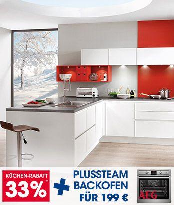 Design-Einbauküche Norina 9555-Weiss-Hochglanz-Lack - Küchen - küchenzeile weiß hochglanz