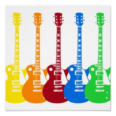 Five Colorful Electric Guitars