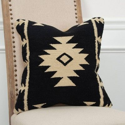 Black Ivory Southwestern Stripe Throw Pillow 18 X18 Rizzy Home