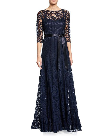 8f1ae49e65 Rickie Freeman For Teri Jon 3/4-Sleeve Lace Overlay Gown in 2019 ...
