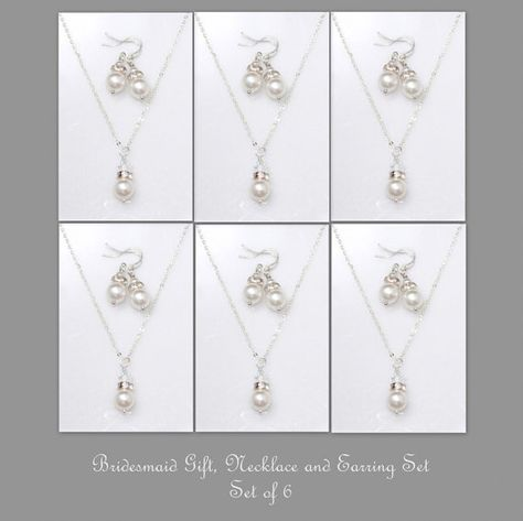 Bridesmaid Gift Set, Set of 6, Swarovski White Pearl Necklace and Earring Set, Bridesmaid Jewelry Set on Etsy, $95.45 CAD