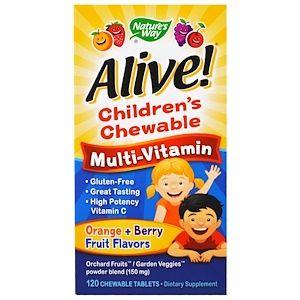 Nature S Way Alive Children S Chewable Multi Vitamin Orange Berry Fruit Flavors 120 Chewable Tablets Iherb Com