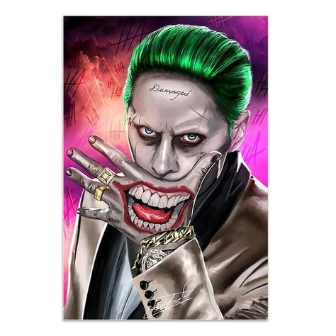 Movie Star Joker Oil Canvas Painting Comic Joker Posters and Prints Wall Decor Painting Wall Pictures for Living Room Decoration - 60x90cm No Frame / Z174C