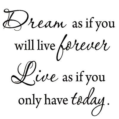 VWAQ Dream as if You'll Live Forever Vinyl Wall Decal