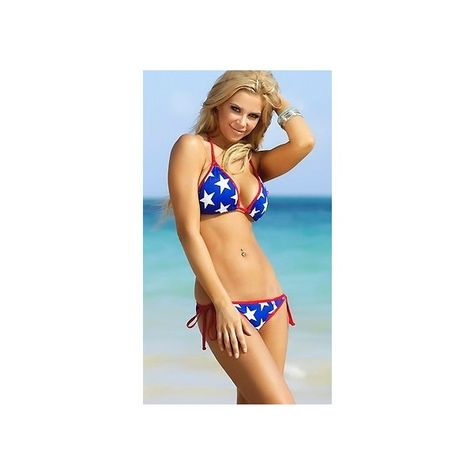 e68e7d5313a Scrunch Blue White Stars Red Shimmer Trim Bikini by Chynna Dolls... ($62) ❤  liked on Polyvore featuring swimwear and bikinis
