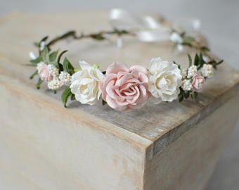 ivory flower headband Newborn Photo prop headband Cream pink dainty  headband