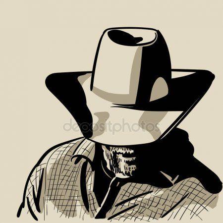 Hombre Con Sombrero De Vaquero Y Camisa A Cuadros Occidental Retrato Bosquejo Digital Mano Dibujo Vectorial Cowboy Applique Drawings Cowboy Hats