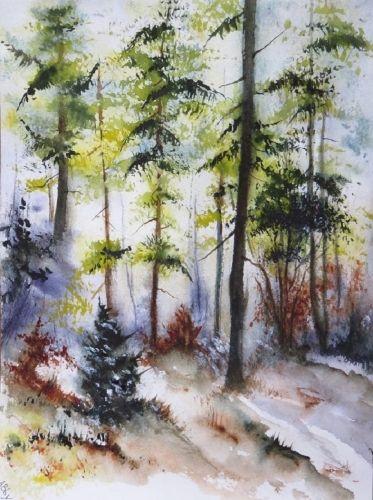 Aquarelle Abby Neige Paysage Arbres Chemin Foret Sous Bois