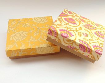 10 Floral Print Yellow Kraft Boxes 4 5x4 5x1 25 In Kraft Box