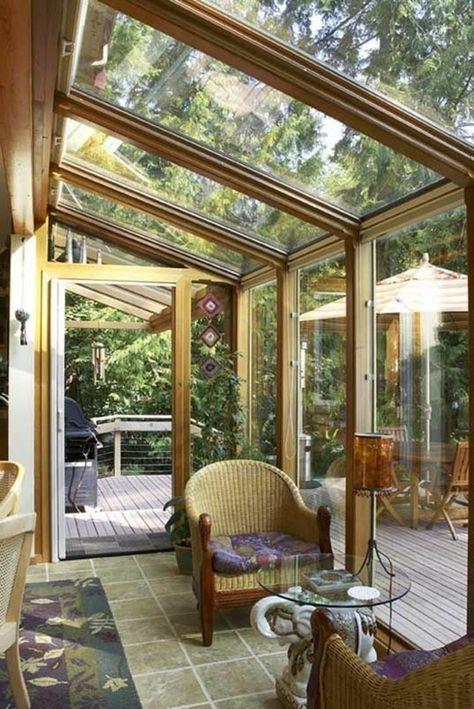Superieur Jolie Veranda En Verre Et Bois Clair Et Plafond En Verre
