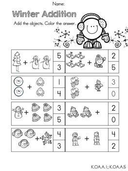 Kindergarten Winter Math Worksheets (Common Core Aligned ...